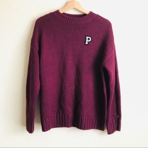 VS PINK maroon knit oversized sweater - SMALL